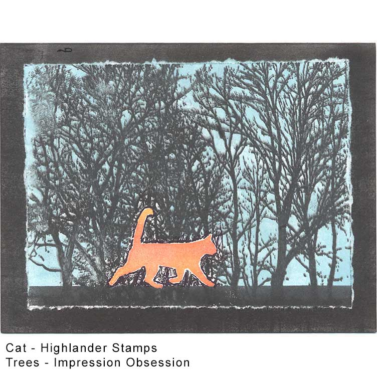Orange cat with trees card idea by Kim Victoria for HighlanderCelticStamps