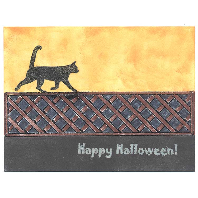 Halloween Cat on a Fence card idea by Kim Victoria for HighlanderCelticStamps