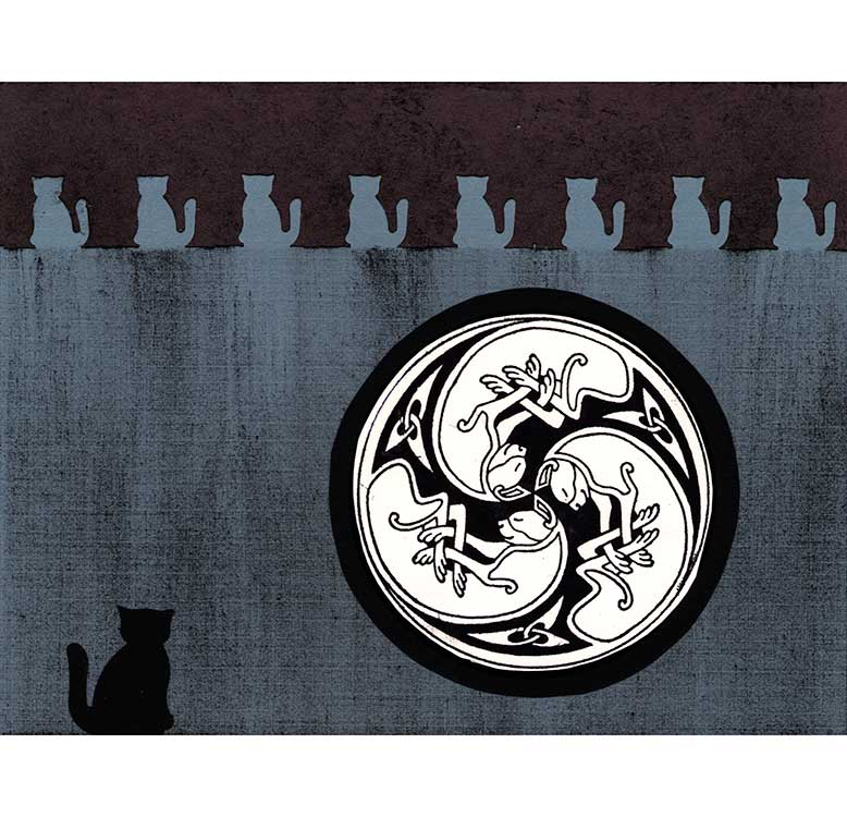 3-Cats Spiral rubber stamped card idea by Kim Victoria for HighlanderCelticStamps