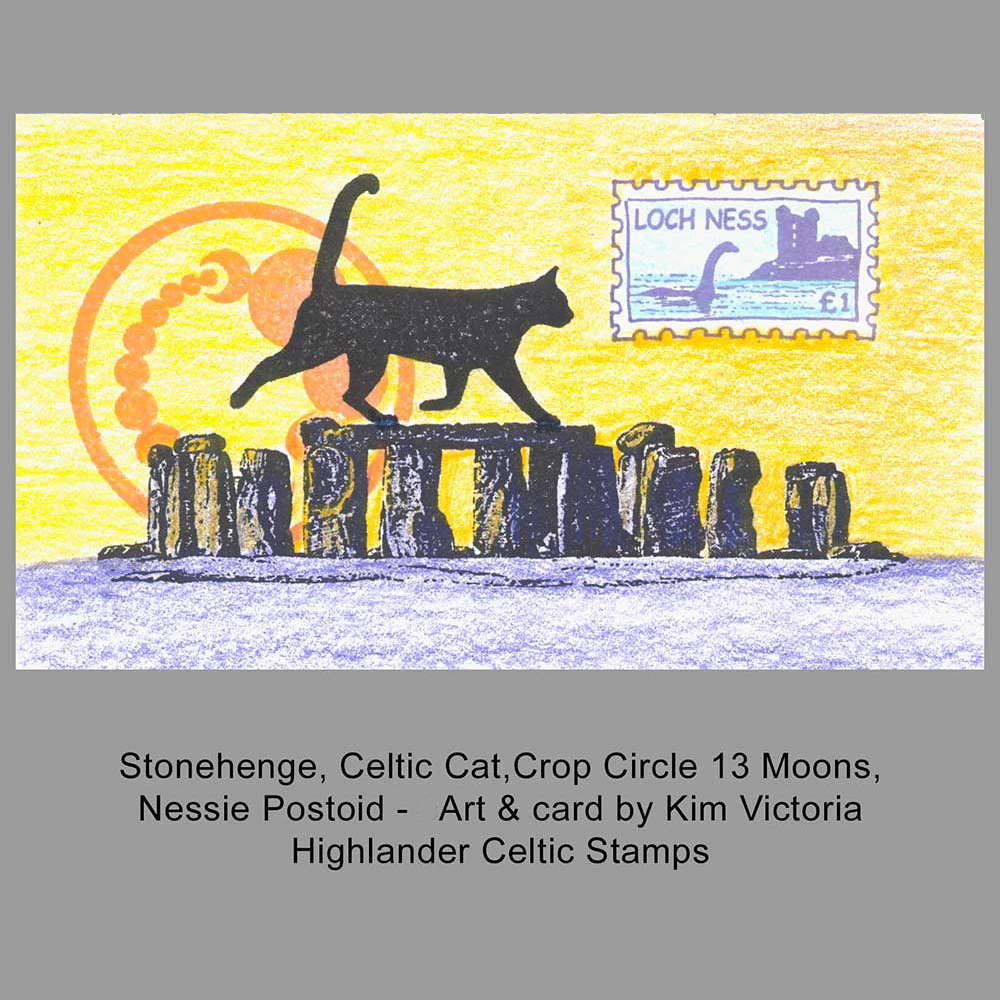 Cat on Stonehenge with Crop Circle moons rubber stamped card idea by Kim Victoria for HighlanderCelticStamps